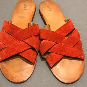 FRYE sandals coral suede woven flat slide leather